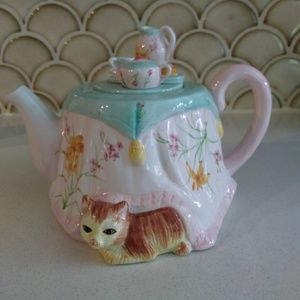 Cat Teapot kitty tea party cute cat lover pink